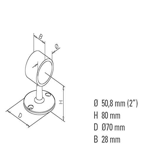 Hamburger Tauwerk Fabrik Seiltr/äger//Seilhalter im Edelstahl-Design f/ür 50mm Handlaufseil