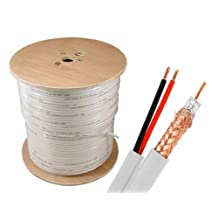 Sewell Wholesale Bulk Rg59 + Power Siamese Cable, 500 Ft, White