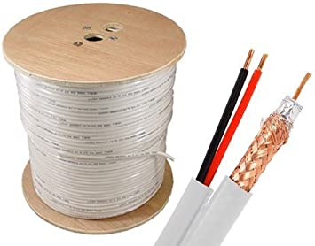 Braid and Foil Shield Black 500 Feet Spool Sewell Direct SW-22855 Bulk RG59 Power Siamese Cable 18 AWG