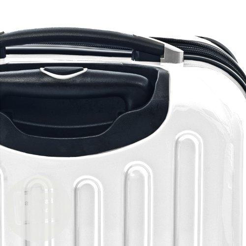 HAUPTSTADTKOFFER® 42 Liter Hartschalenkoffer · Boardcase · Handgepäck (55 x 35 x 19 cm) · Hochglanz · TSA oder Zahlenschloss + DESIGN KOFFERANHÄNGER (TSA Zahlenschloss, Weiss)