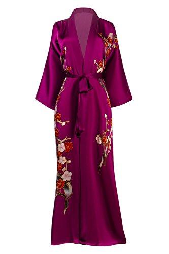 (Old Shanghai Women's Silk Kimono Long Robe - Handpainted, Cherry Blossom Fuchsia)