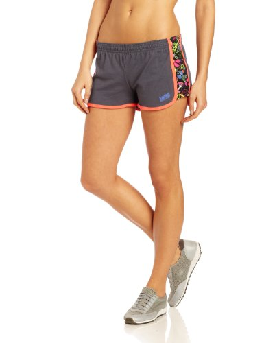(Soffe Women's Stripe Elastic Short, Pink Glo/Black X-Small)
