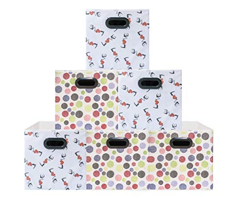 (6 Pack Polka&Love Pattern) Unique Design Storage Bins,Stylish Containers, Gift Boxes, Beautiful Tote, Baskets| Two Plastic Handles Collapsible Cubes Household Organization |for Nursery or Offices