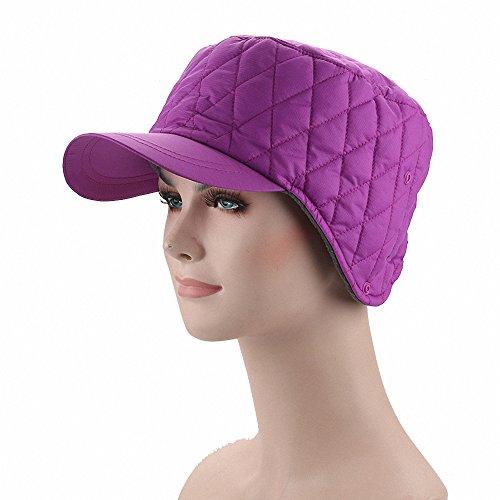 Maoko Men and Women Winter Fleece Lined Ski Snow Baseball Cap Hat/Earflap Hat Cap with Earmuffs Warmer Purple