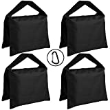 Super Heavy Duty AbcCanopy SANDBAG SADDLEBAG DESIGN 4 WEIGHT BAGS FOR PHOTO VIDEO STUDIO STAND (black)