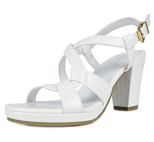 TOETOS DIANE-01 New Women's Cross Strap Open Toes Mid Chunky Heels Platform Dress Sandals White Size (New Ladies White Sandals)