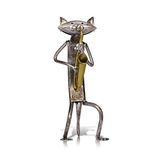 Tooarts A Playing Saxophone Cat Metal Sculpture Iron Statue Handwork Handicrafts, 3 Funny Design
