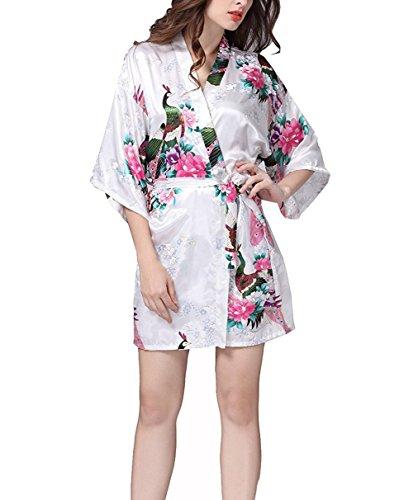 Pavone Scollo Con Corto Stampa Hammia Fiore Pavone da a V Accappatoio Kimono Donna Esotici Notte Vestaglie Pigiama Maniche Cintura in Raso Raso White xqZCCwvE84