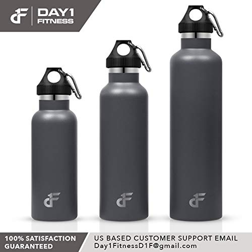 Day 1 Fitness Stainless Steel Water Bottle Standard Mouth, Carabiner Clip (16, 24, or 32oz) 3 Size, 8 Color, and Multi-pack Options – Vacuum Insulated, Double Walled, Powder-Coated Sweat Proof Thermos