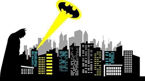 Chic Walls removable Gotham City Skyline Batman Silhouette Logo Ray of Light Wall Art Decor Decal Vinyl Sticker Mural Kids Room Nursery 120'' X 67'' by ChicWalls