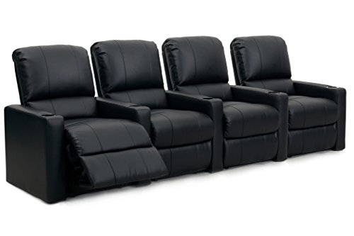 Octane Seating CHARGER-R4SM-BND-BL Charger XS300 Leather Home Theater Recliner Set (Row of 4), Black