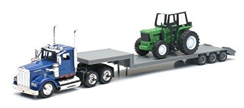 Diecast Kenworth Tractor & Trailer w/ Farm Tractor 1:43