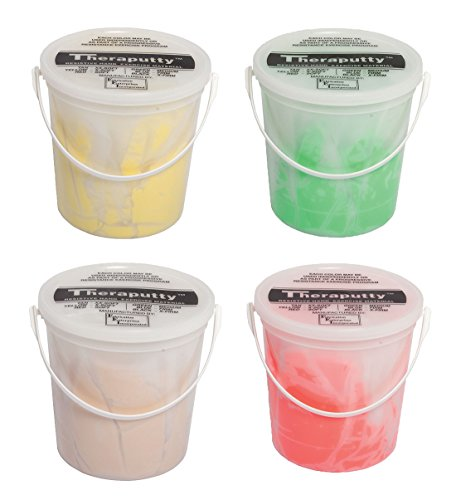 TheraPutty Antimicrobial Exercise Putty Tan, Yellow, Red, Green 5 LB Each - Bundle by Theraputty