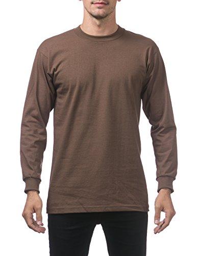 Pro Club Men's Heavyweight Cotton Long Sleeve Crew Neck T-Shirt 2X-Large Brown