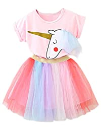 TTYAOVO Girl Unicorn Clothing 2pcs Outfits with Pink Tops & Colorful Lace Tutu Skirts