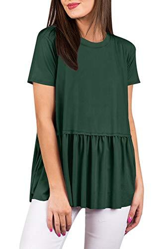 (Womens Flare Cute Casual Short Sleeve T Shirt Pleated Summer Loose Peplum Hem Cotton Tunic Top Forest Green 2XL)
