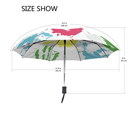 2ae22af9ef06 GIOVANIOR Colorful Ink Handprints Umbrella Double Sided Canopy Auto ...