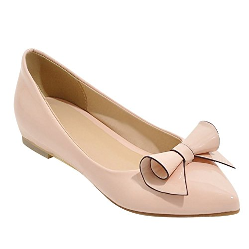 Carolbars Womens Puntschoen Chic Strikjes Verborgen Hak Platte Schoenen Roze Schoenen
