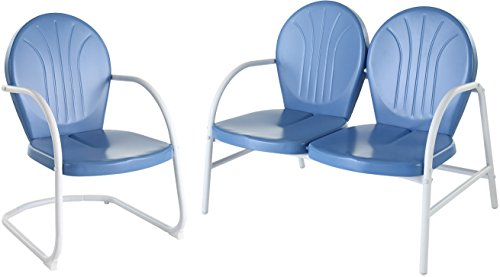 - Crosley Furniture Griffith 2-Piece Metal Outdoor Conversation Set with Loveseat and Chair - Sky Blue