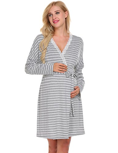 Ekouaer Labor & delivery Maternity Hospital Gown Best Baby Shower Gift(Grey,S)