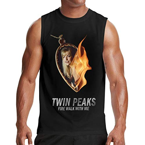 Adult Men Cool Twin Peaks Summer Music Band Anime Cartoon Sleeveless Tee Shirt Tank XXL Gift Black ()