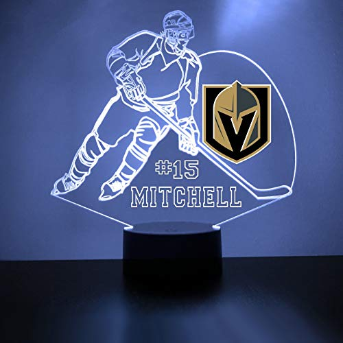 Nhl Table Lamp (Mirror Magic Store Golden Knights Hockey Player LED Night Light with Free Personalization - Night Lamp - Table Lamp - Featuring Licensed Decal)