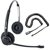 TruVoice HD-150 Professional Double Ear Noise Canceling Office/Call Center Headset With U10P Bottom Cable works with Mitel, Nortel, Avaya Digital, Polycom VVX, Shoretel, Aastra + Many More