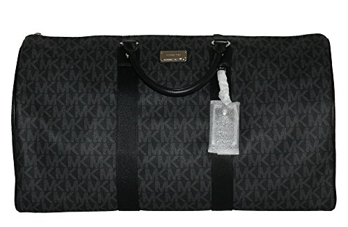 Michael Kors Leather Travel Logo Duffle Large Bag Printed Duffel Luggage (Black)