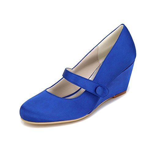 YC Color Autumn Customized 9140 Round Tie Wedding Winter L Multi Slip Blue P with 03 Shoes Women dxAq6ROw6U