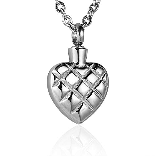 Heartfelt Quilted Heart Cremation Jewelry Necklace Urn Memorial Keepsake Pendant for Ashes with Funnel Fill -