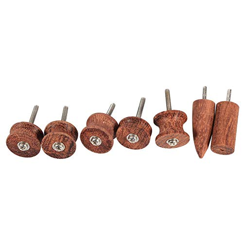 7pcs Rosewood Leather Burnisher Dremel Pointed Tip Leather Edge Slicker Polished Drill Leathercraft Carving Tool