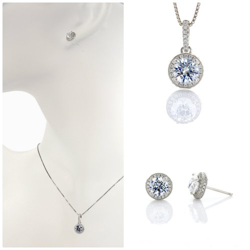 NANA S-Silver &14k Gold Halo Pendant & Earrings set Each w/ 6.5mm Swarovski Zirconia. Platinum Plated (Signity Cubic Stone Zirconia)