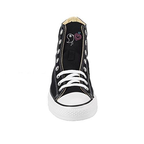 Personalizzate Star Nera Borchie Artigianali Con Scarpe Texture All Stampa Converse Oro Alta Xfqcnd