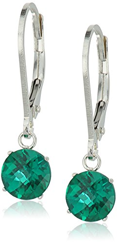 (Sterling Silver Round Checkerboard Cut Created Emerald Leverback Earrings)