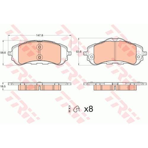 TRW GDB2044 Plaquette de Frein Bo/Ã/®te Set de 4