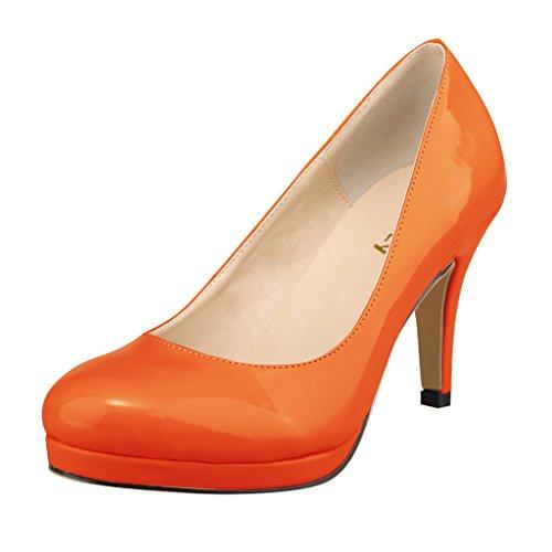 ZriEy Women's Close Toe Dress Platform Pump Professional Ladies Stiletto Heel Orange Size (Orange Platforms Heels)