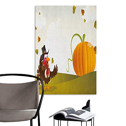 Jaydevn Wall Mural Wallpaper Stickers Turkey Happy Pilgrim Poultry Animal with a Giant Pumpkin on Green Hills of The Farmland Multicolor School Dormitory Classroom W20 x -