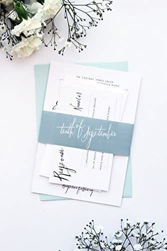 Amazon Com Elegant And Romantic Belly Bands Wedding Invitation Sets Modern Mint Invitations Digital Files Or Printed Cards By Paradise Invitations Handmade