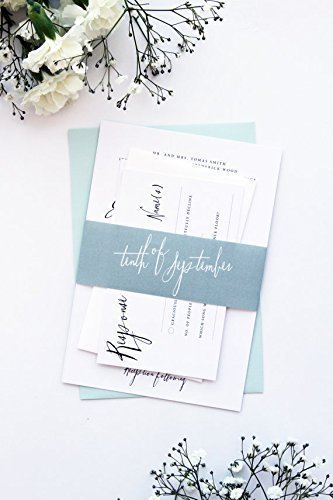 Wedding Invitation Printing.Elegant And Romantic Belly Bands Wedding Invitation Sets Modern Mint Invitations Digital Files Or Printed Cards By Paradise Invitations