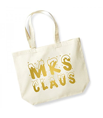 Mrs Claus - Large Canvas Fun Slogan Tote Bag Natural/Gold