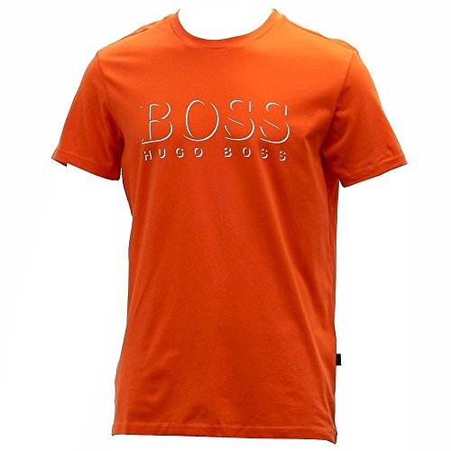 Hugo-Boss-Mens-Cotton-Logo-Medium-Orange-Crew-Neck-Short-Sleeve-T-Shirt