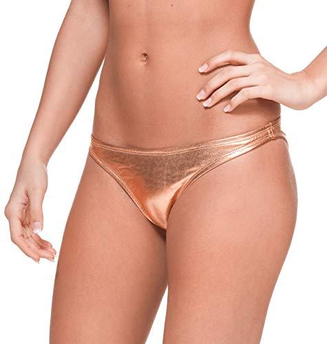 Gary Majdell Sport Women's New Liquid Bikini Swimsuit Bottom Liquid Rose Gold Small