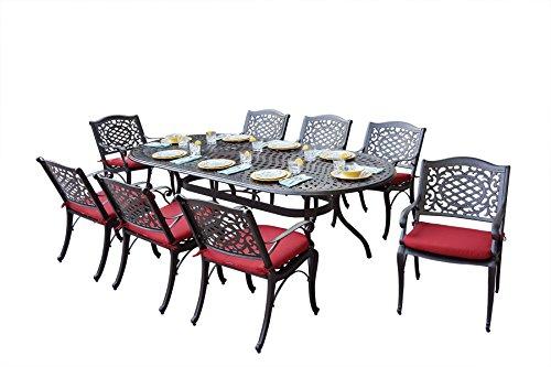 Richmond Leg Table - AC HOME & PATIO AC15-9PC-L Plazzo 9 Piece Dining Set with Cushions, 47