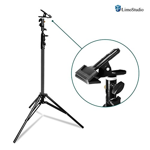 LimoStudio Spring Clip Clamp Reflector Holder Kit with 1/4 inch and 3/8 inch Female Screw Thread Stud and Max 9 ft. Light Stand Tripod for Photo and Video Studio, AGG2782 by LimoStudio
