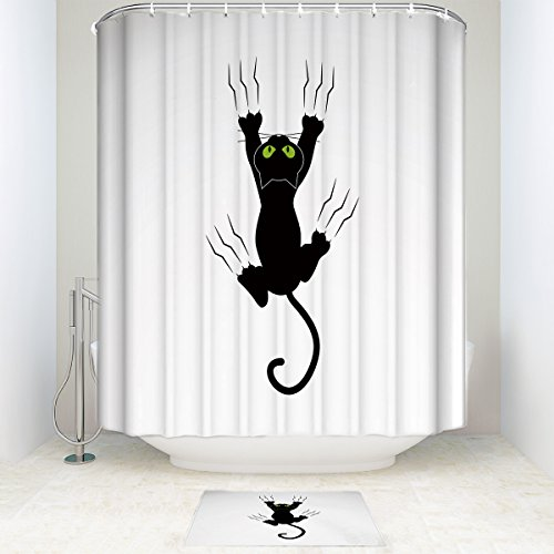 Bathroom Shower Curtain with Mats Rugs Bath Accessory Set Polyester Fabric Mildewproof Waterproof 72