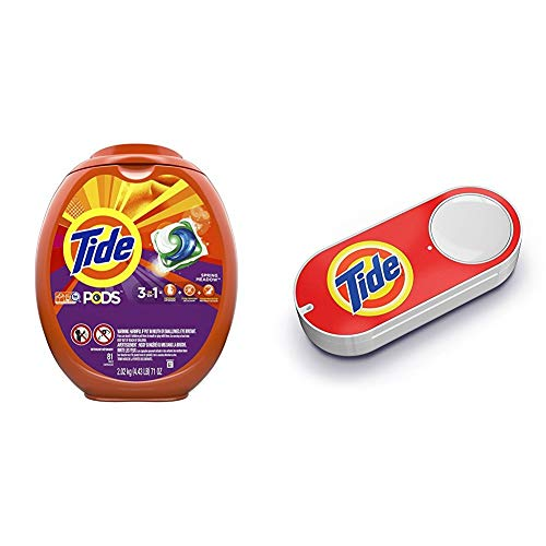 Tide PODS 3 in 1 HE Turbo Laundry Detergent Pacs, Spring Meadow Scent, 81 Count Tub - Packaging May Vary + Tide Pods + Tide Dash Button