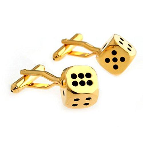 Gold Dice Die Gambling Pair Cufflinks