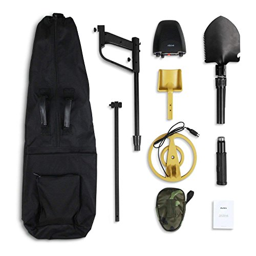 INTEY Classic Metal Detector - Lightweight Gold Digger with Pinpoint Function/Waterproof Search Coil -High Accuracy Metal Detectors Plus Folding Shovel/Rucksack (Min Length: 30In; Max Length: 40In)