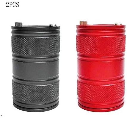 2PCSステンレス鋼車の灰皿、簡単にきれいに取り外し可能なステンレススチール製の車の灰皿、ほとんどの車のカップホルダー・レッド・ブラックに適し