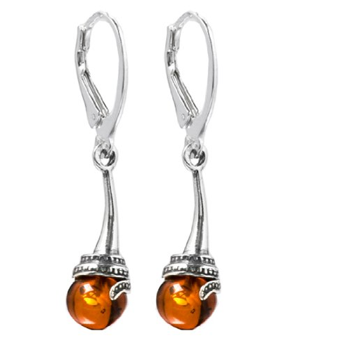 Honey Amber Sterling Silver Classic Drop Leverback Earrings